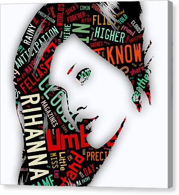 Celebrities Canvas Print - Rihanna Umbrella Lyrics by Marvin Blaine