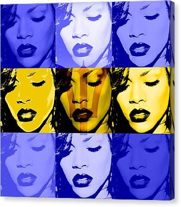 Rihanna Warhol Barbados By Gbs Canvas Print by Anibal Diaz