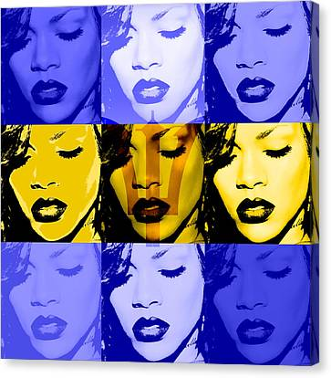Rihanna Warhol Barbados By Gbs Canvas Print by Anibal Diaz