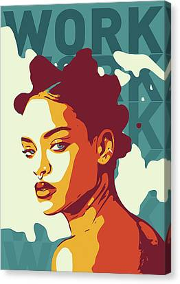 Rihanna Canvas Print - Rihanna by Greatom London