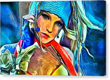 Rikku Final Fantasy  - Van Gogh Style -  - Da Canvas Print by Leonardo Digenio