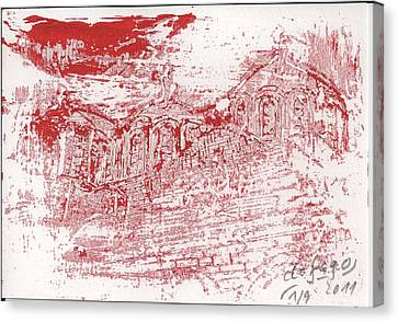 Rila Monastery Red Canvas Print by De Fago