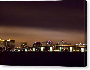 Ringling Bridge And Sarasota Canvas Print by Nicholas Evans