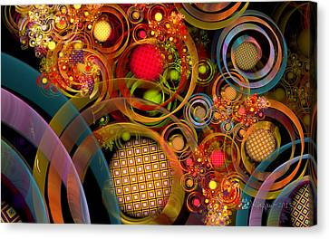 Fractal Orbs Canvas Print - Rings Around The Bubbles by Peggi Wolfe