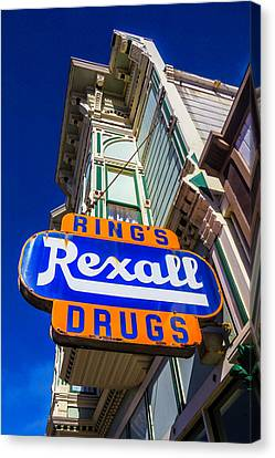 Rings Rexall Drugs Sign Canvas Print by Garry Gay