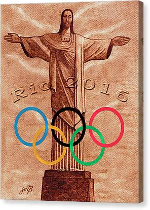 Canvas Print featuring the painting Rio 2016 Christ The Redeemer Statue Artwork by Georgeta Blanaru