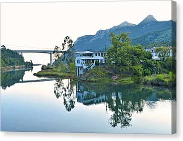 Canvas Print featuring the photograph Rio Aguera Reflection  by Marek Stepan