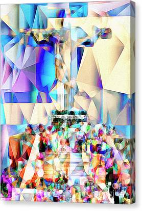 Canvas Print featuring the photograph Rio Christ The Redeemer In Abstract Cubism 20170327 by Wingsdomain Art and Photography