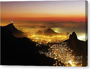 Dois Irmaos Canvas Print - Rio De Janeiro At Night by Cesar Okada