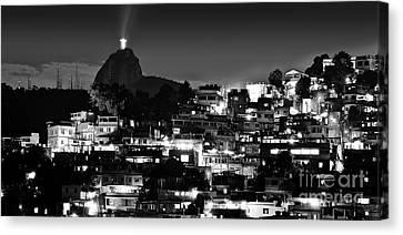 Rio De Janeiro - Christ The Redeemer On Corcovado, Mountains And Slums Canvas Print by Carlos Alkmin
