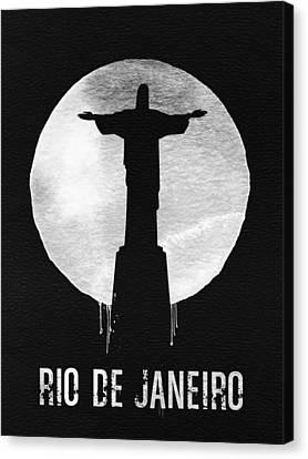 Rio De Janeiro Landmark Black Canvas Print by Naxart Studio