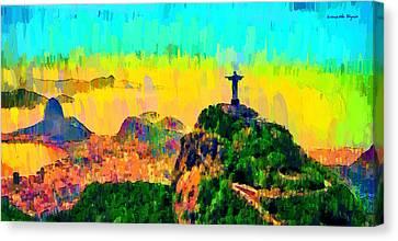 Beaches Canvas Print - Rio De Janeiro Panoramic - Pa by Leonardo Digenio