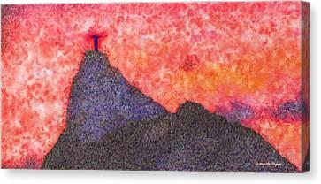 Rio De Janeiro Red Sunset - Da Canvas Print