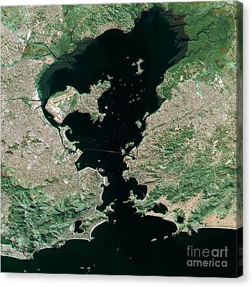 Rio De Janeiro Topographic Map Natural Color Top View Canvas Print By Frank Ramspott