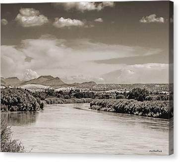 Rio Grande In Sepia Canvas Print by Allen Sheffield