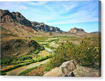 Brown Ranch Trail Canvas Print - Rio Grande River Bright Summer Day by Judy Vincent