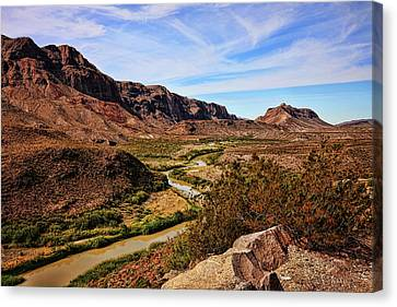 Brown Ranch Trail Canvas Print - Rio Grande River Fall Afternoon by Judy Vincent