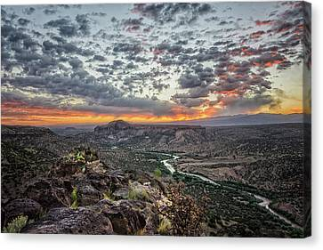 Rock Formations Canvas Print - Rio Grande River Sunrise 2 - White Rock New Mexico by Brian Harig