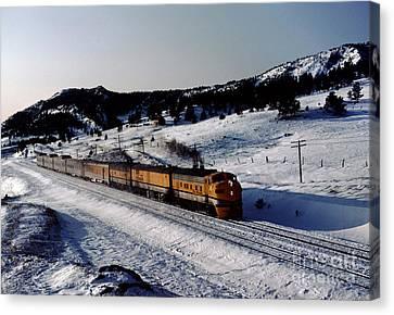 Rio Grande Zephyr Trainset In The Snow, Plainview Colorado, 1983 Canvas Print