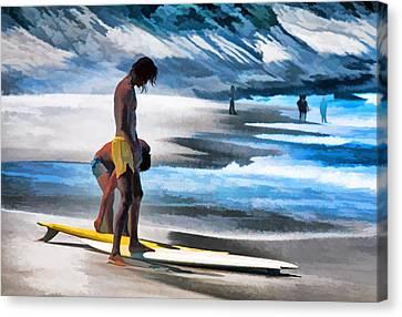 Rio Surfers Canvas Print by Dennis Cox