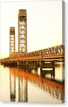 Rio Vista Bridge Sunrise Canvas Print by Troy Montemayor