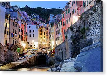 Riomaggiore, Cinque Terre At Night Liguria Italy Canvas Print