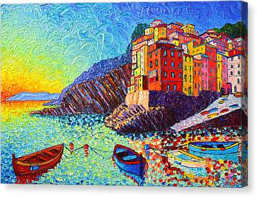 Riomaggiore Sunset - Cinque Terre Italy - Palette Knife Oil Painting By Ana Maria Edulescu Canvas Print by Ana Maria Edulescu