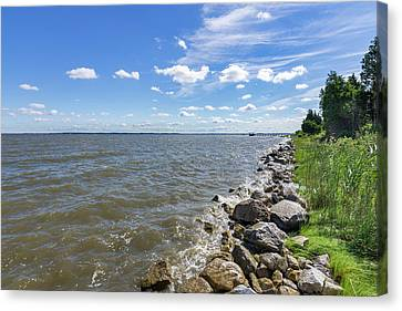Canvas Print featuring the photograph Rip-rap On The Chester River by Charles Kraus