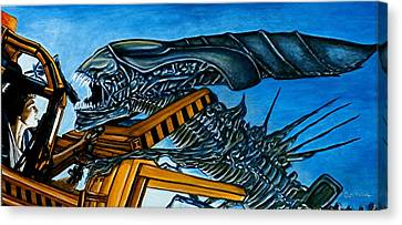 Canvas Print featuring the painting Ripley Vs Queen Up Close And Personal by Al  Molina