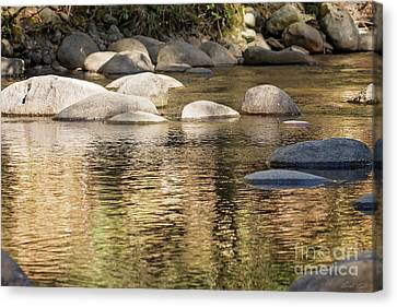 Canvas Print featuring the photograph Ripples And Rocks by Linda Lees