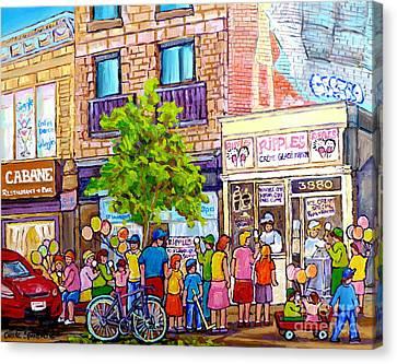 Montreal Memories Canvas Print - Ripples Ice Cream Shop Rue St Laurent Street Party Balloon Fun Montreal Art Carole Spandau by Carole Spandau