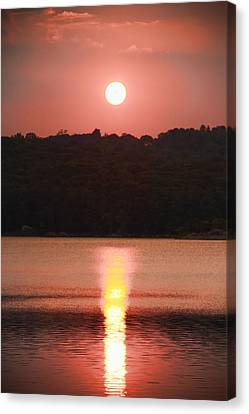 Ripples Of Sunset Canvas Print by Daphne Sampson
