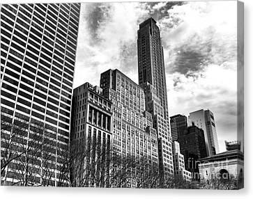 Rising In Manhattan Mono Canvas Print