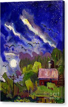 Rising Moon On Walnut Ridge Canvas Print by Charlie Spear