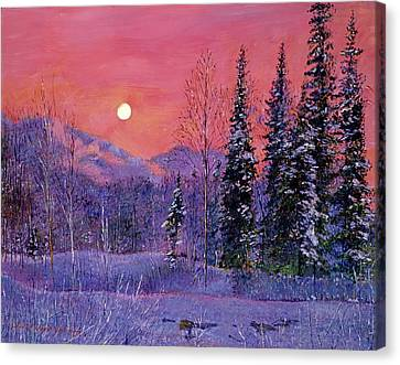 Snowy Scene Canvas Print - Rising Snow Moon by David Lloyd Glover