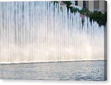 Rising Wall Of Water Bellagio Hotel Casino Fountains Las Vegas Nevada Canvas Print by Andy Smy