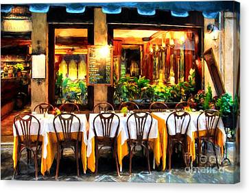 Scenes Of Italy Canvas Print - Ristorante In Venice # 2 by Mel Steinhauer