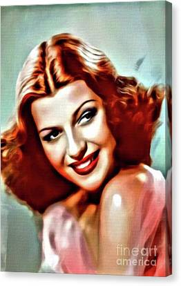 Rita Hayworth, Vintage Actress. Digital Art By Mary Bassett Canvas Print