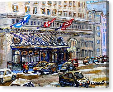 Ritz Carlton Paintings Montreal Memories 3 Flags Rue Sherbrooke Best Canadian Original Art For Sale  Canvas Print by Carole Spandau