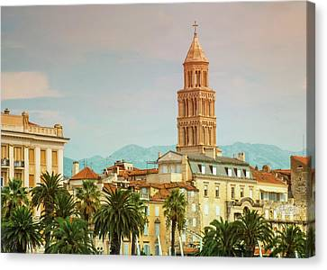 Riva Waterfront, Houses And Cathedral Of Saint Domnius, Dujam, D Canvas Print by Elenarts - Elena Duvernay photo