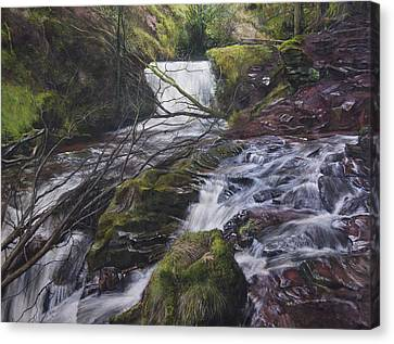 River At Talybont On Usk In The Brecon Beacons Canvas Print by Harry Robertson