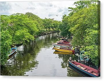 River Boat Dock Canvas Print