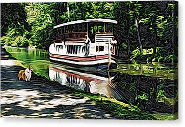 Canvas Print featuring the digital art River Boat With Welsh Corgi by Kathy Kelly
