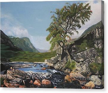 River Coe Scotland Oil On Canvas Canvas Print