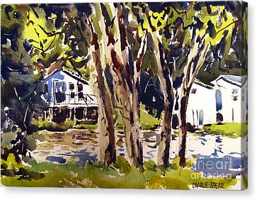 River Cottages Framed Matted Glassed Canvas Print