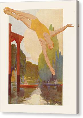 River Diver Canvas Print by Rene Lelong