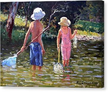 River Fun Canvas Print by Roelof Rossouw