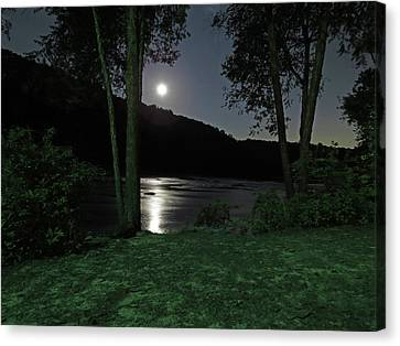 River In Moonlight Canvas Print