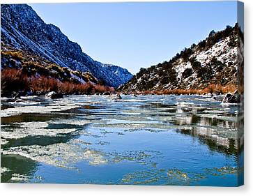 River In Winter Canvas Print by Atom Crawford