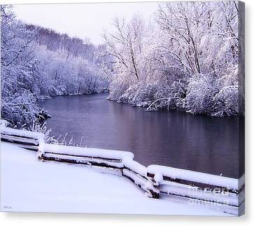 River In Winter Canvas Print by Phil Perkins